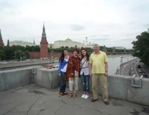 In front of the Kremlin complex in the heart of Moscow, Inna Kuts poses with her family during their vacation. It has been 30 years since Kuts and her husband, Sam, came to the U.S. from Russia. This summer, the couple decided to take their twin daughters to visit their home country. From left are Hannah, Inna, Becky and Sam Kuts.